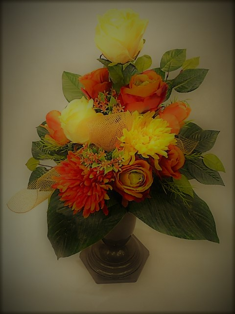 Bukiet z chryzantem i róż