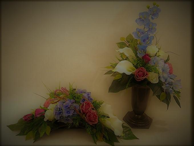 Bukiet i stroik z storczyka, kali i róż
