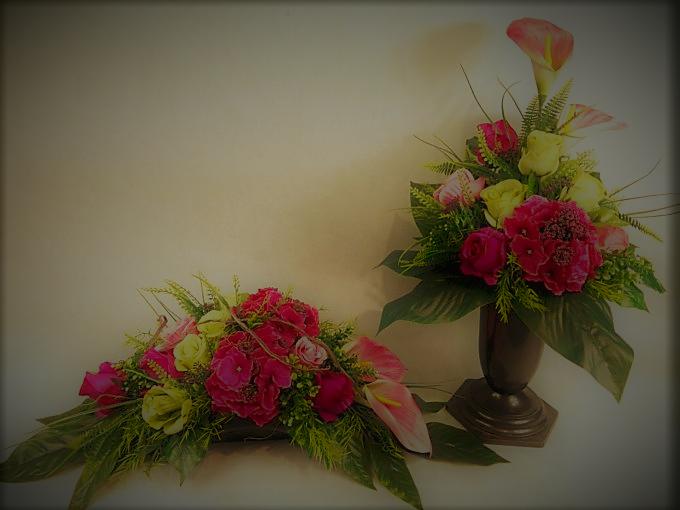 Bukiet i stroik z hortensji, kali i róż